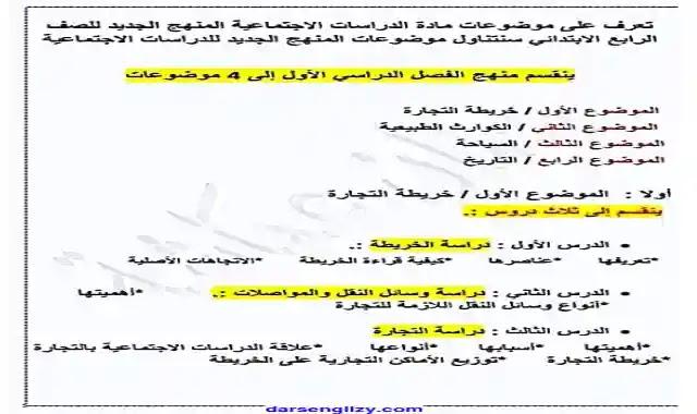 منهج الدراسات الاجتماعية الجديد للصف الرابع الابتدائى الترم الاول 2022