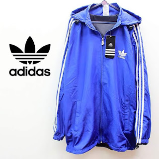 Jaket Adidas Parasut Full Biru List Putih 020 Originals
