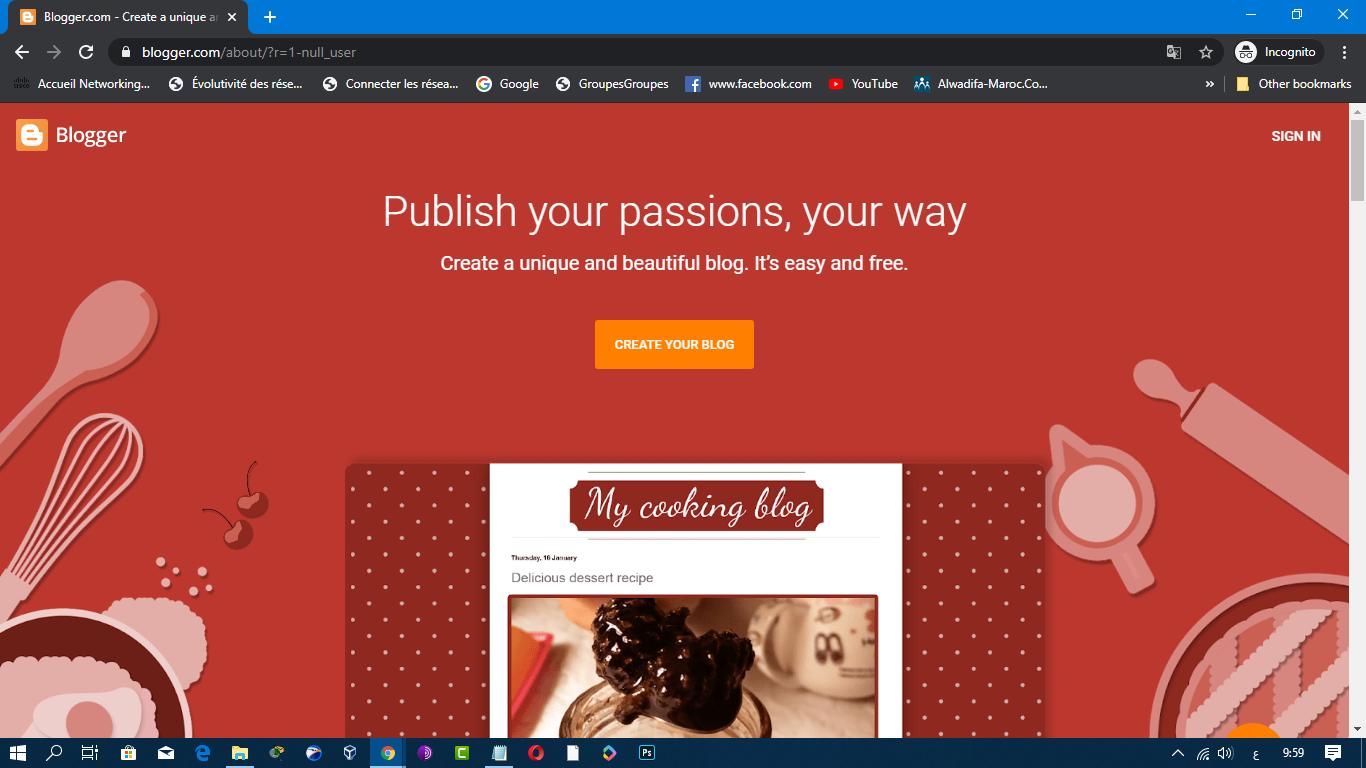 انشاء مدونة بلوجر جديدة