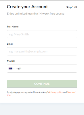 shaw academy login page