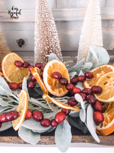dried oranges cranberry garland lamb's ear