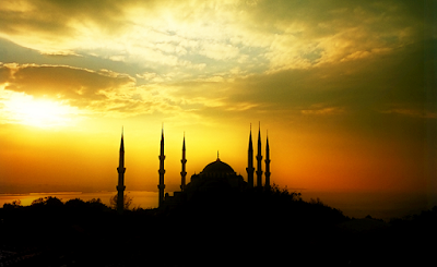 mosque in sunset time