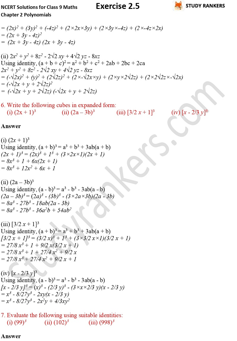 NCERT Solutions for Class 9 Maths Chapter 2 Polynomials Exercise 2.5 Part 4