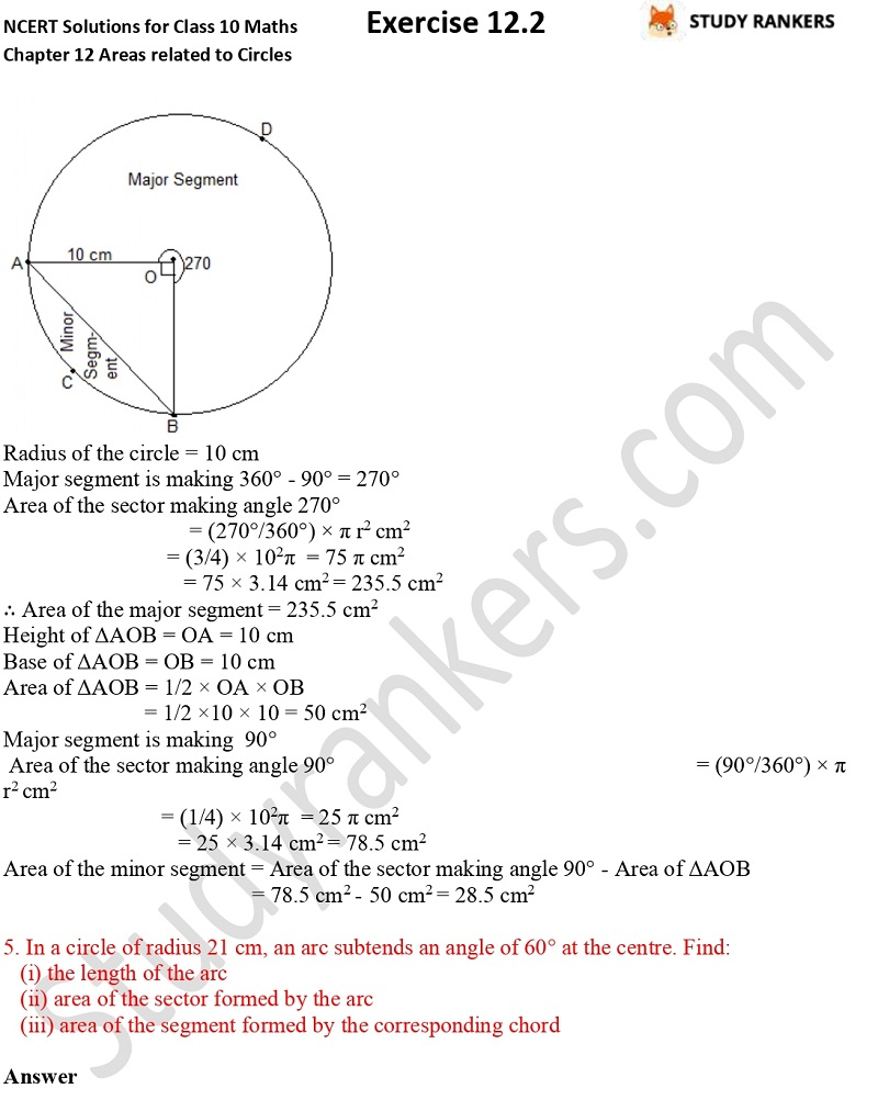 NCERT Solutions for Class 10 Maths Chapter 12 Areas related to Circles Exercise 12.2 Part 7