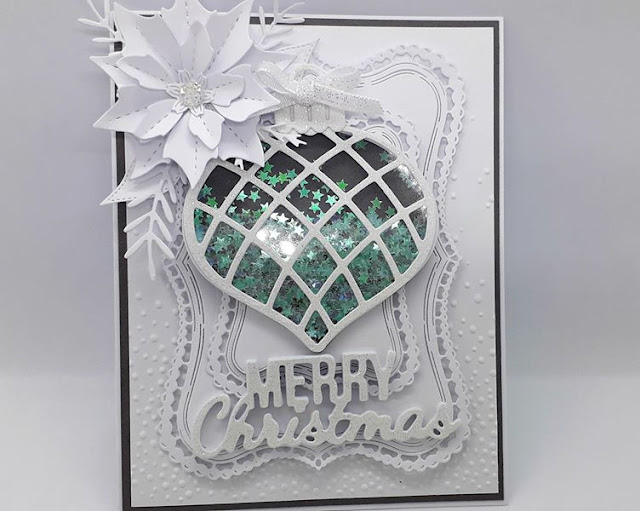 White Christmas cards, Shaker cards,