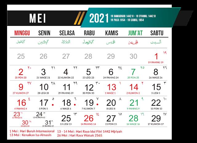 Preview Desain Template Kalender 2021 Bulan Mei