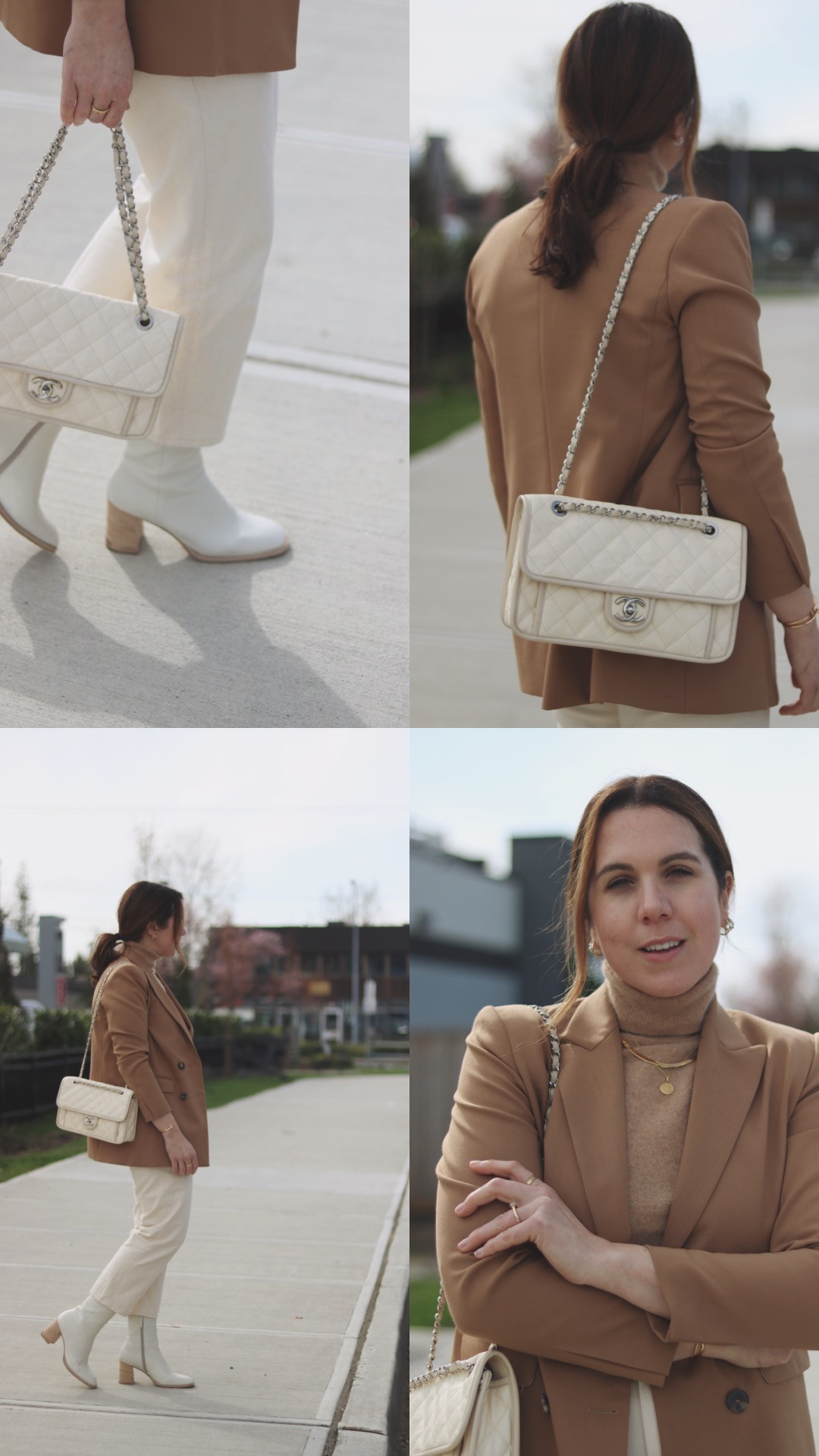 beige and camel outfit sandro blazer chanel friench riviera flap la canadienne boots