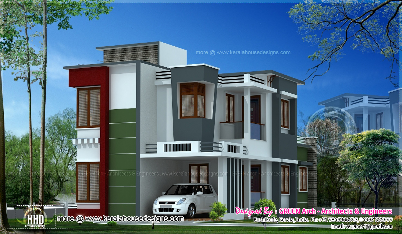 Contemporary home design in 149 square meter kerala home for Modern house plans for 1600 sq ft