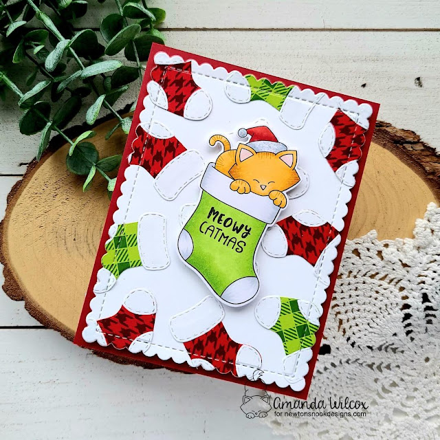 Cat Christmas Card by Amanda Wilcox | Newton's Stocking Stamp Set, Meowy Christmas Paper Pad, Frames & Flags Die Set and Stylish Stockings Die Set by Newton's Nook Designs