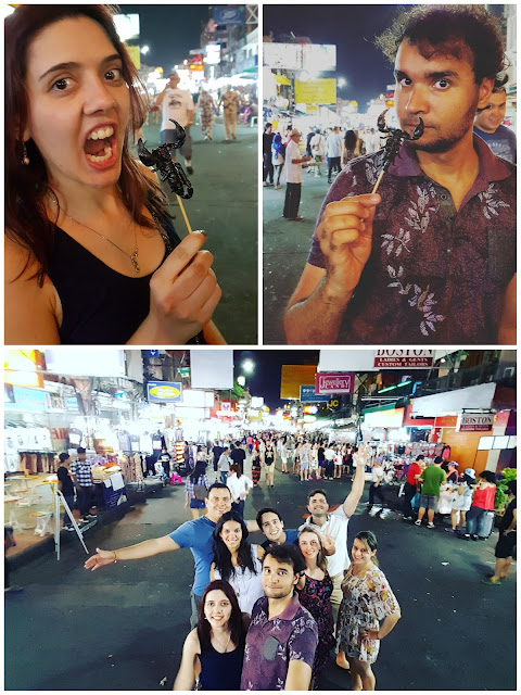 KhaoSan Road é muito louca e tem os infames espetinhos de escorpião, bem como de vários outros insetos.