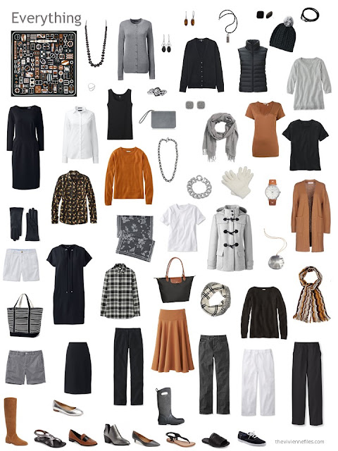 capsule wardrobe in black, grey and white with rust accents