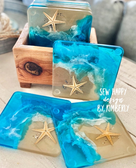 Beach Resin Coasters with Starfish Shell