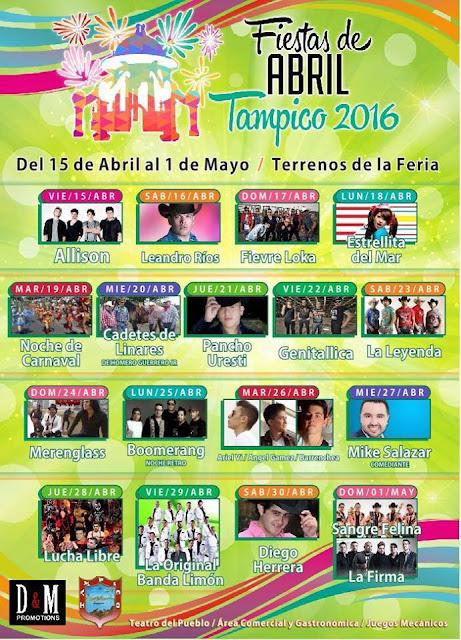 programa fiestas de abril tampico 2016
