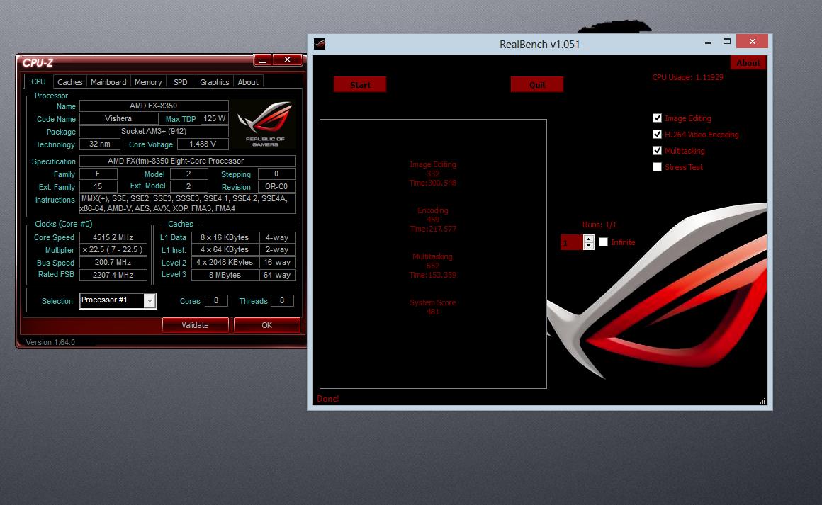 My Computer: ROG Realbench AMD FX 8350 Crosshair V Formula Z