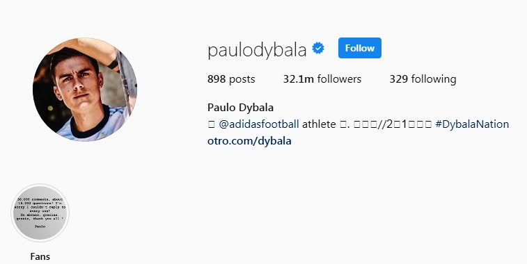 Paulo Dybala Instagram Followers