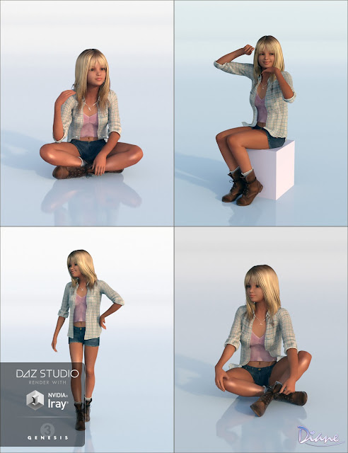Loveliness Poses for Haley and Genesis 3 Female