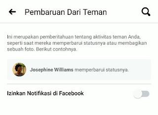 mematikan notifikasi dari teman facebook