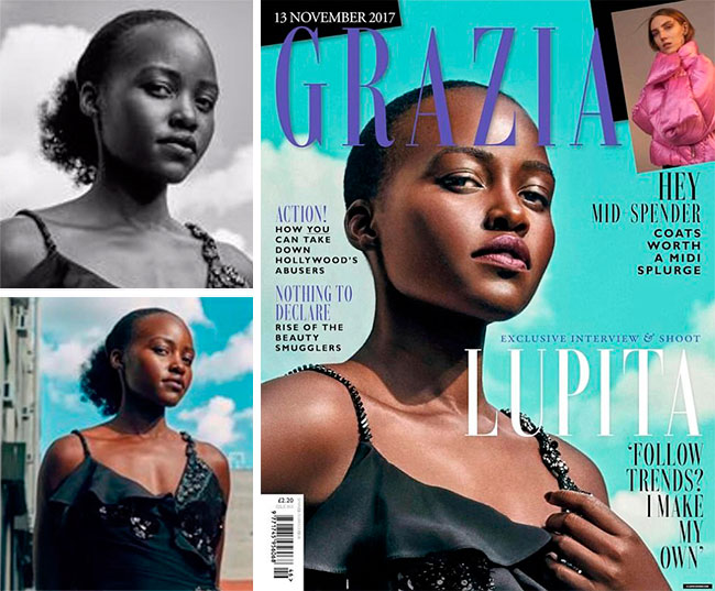 Lupita Nyong'o Grazia Magazine Before and After