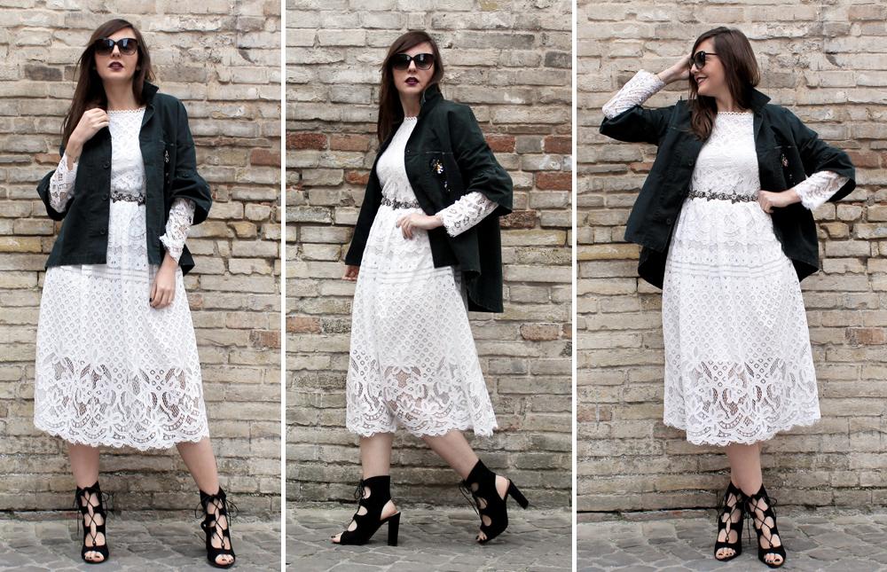 Outfit vestito pizzo bianco