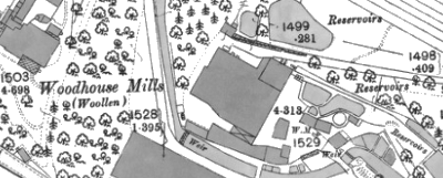 Woodhouse Mills, OS map, 1890.