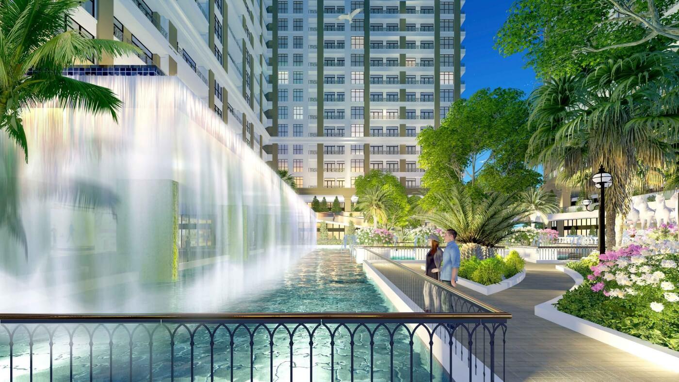 Bể bơi thác tràn tại Sunshine Garden Minh Khai