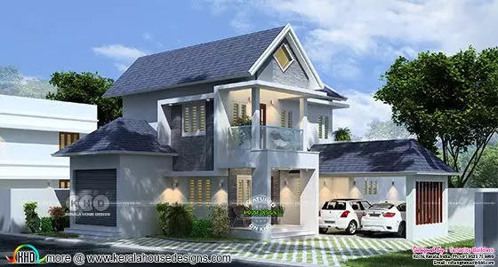 Modern sloping roof house 3d render