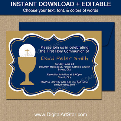 printable navy & gold 1st communion invitations for boys with editable text