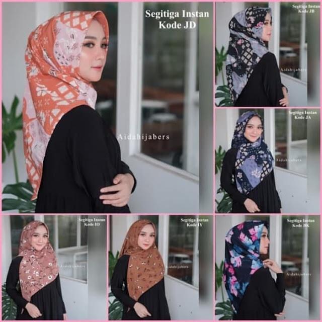 Jilbab Segi Empat Instan Terbaru Motif Bahan Wolfis Premium Warna Cantik