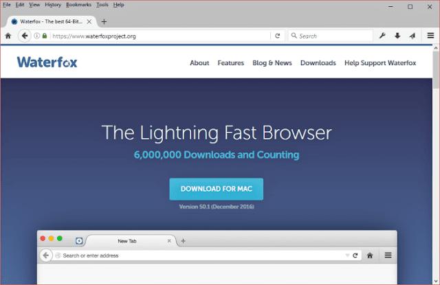 تحميل متصفح واتر فوكس Browser Waterfox مجانا للكمبيوتر