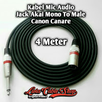 Kabel Mic Audio 4 Meter Jack Akai Mono To Male Canon Canare