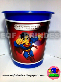 Baldinho de Pipoca Para Centro de Mesa Superman Kid, Lembrancinha Superman Kid, Brinde Superman Kid, Tema Superman Kid, Festa Superman Kid