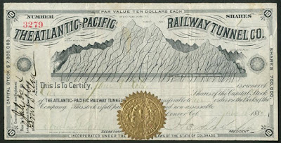 Atlantic-Pacific Railway Tunnel Company share with gold seal