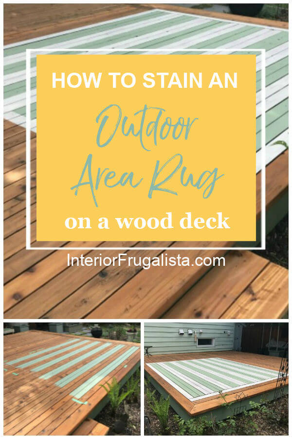 How to hand paint an outdoor faux area rug on a wood deck with stain. An easy DIY outdoor rug idea for creating a cozy conversation area on your deck! #outdoordeckideas #painteddeckrug #outdoorarearugs #diyoutdoorrug