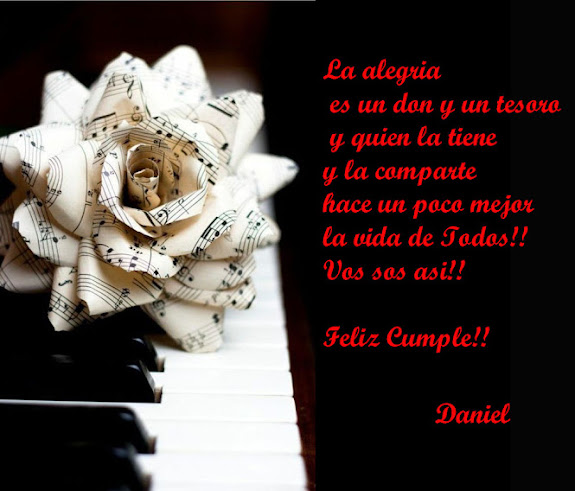 Gracias Daniel por tus palabras muy bonitas  en mi Cumpleaños!!