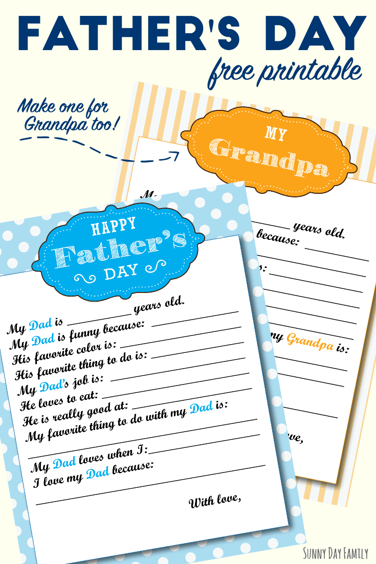 Dad and Grandpa will love these free printables for Fathers Day! Kids can fill out this Fathers Day questionnaire all about Dad and all about Grandpa. An easy kid made Fathers Day gift that Dad and Grandpa will cherish. Such a cute idea!