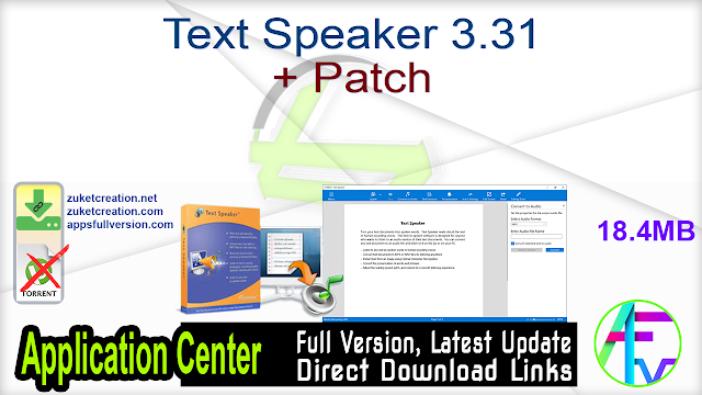 Text Speaker 3.31 + Patch