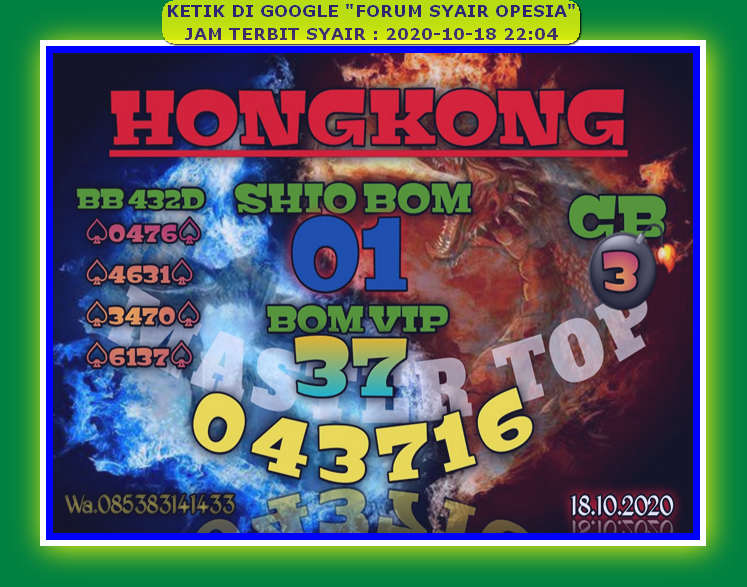 Kode syair Hongkong Minggu 18 Oktober 2020 19