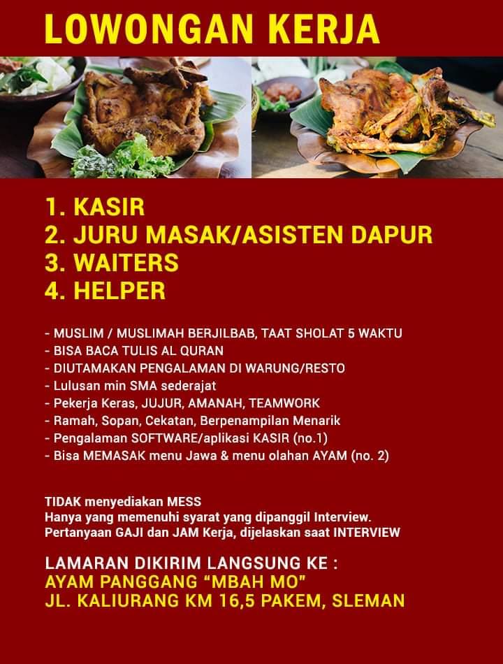 Loker Sleman Sebagai Kasir, Juru Masak, Waiters, Helper di Ayam Panggang Mbah Mo Sleman
