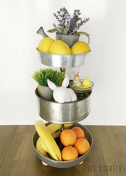Mother's Day Gift Ideas - tiered tray made from upcycled cake pans.