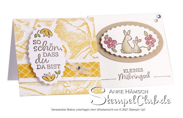 Karte und kleine Box mit Stempelset Ovale Grüsse von Stampin up
