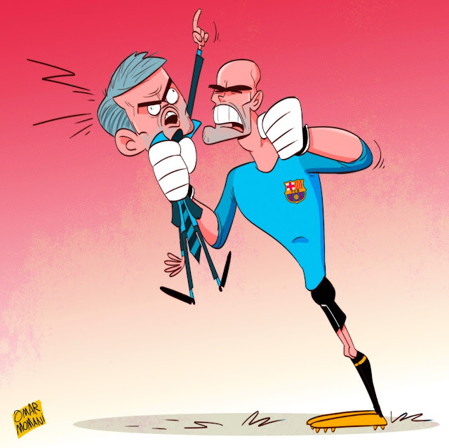 Jose Mourinho and Victor Valdes cartoon