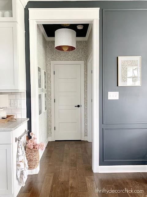 indigo baker wallpaper small hallway