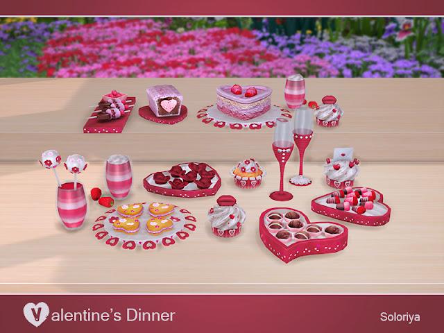Valentine's Dinner Романтический ужин (День св. ВалентинаРассчитан на: The Sims 4 Романтический аппетитный набор для ваших виртуальных пар. Включает в себя 14 предметов. 3 цветовых вариации (красный, розовый и синий). Категория: Декоративные - Беспорядок для всех предметов. Предметы в наборе: - 3 кекса - 2 коктейля - 2 торта - 2 бокала - 2 конфеты - рулет с вареньем - десерт - розы.