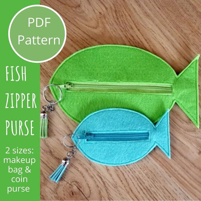 Fish shaped felt zipper purses pattern and tutorial