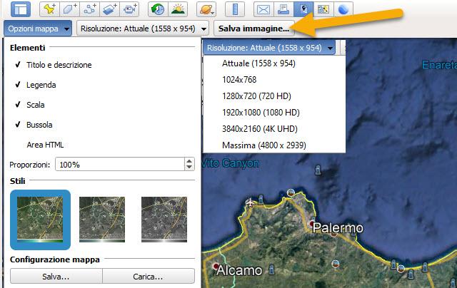 configurazione della mappa di google earth pro