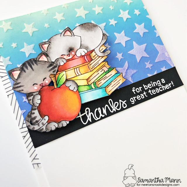 Teacher Thank You Card by Samantha Mann | Newton Dreams of New York Stamp Set, Newton's Book Club Stamp Set, Classy Teachers Stamp Set and Cascading Stars Stencil by Newton's Nook Designs #newtonsnook