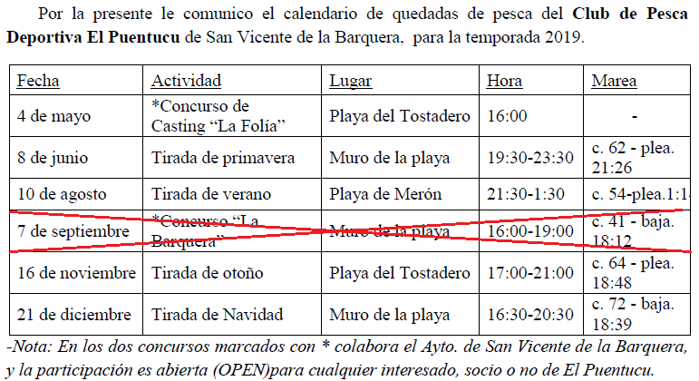 Calendario Social.El Puentucu Calendario Social