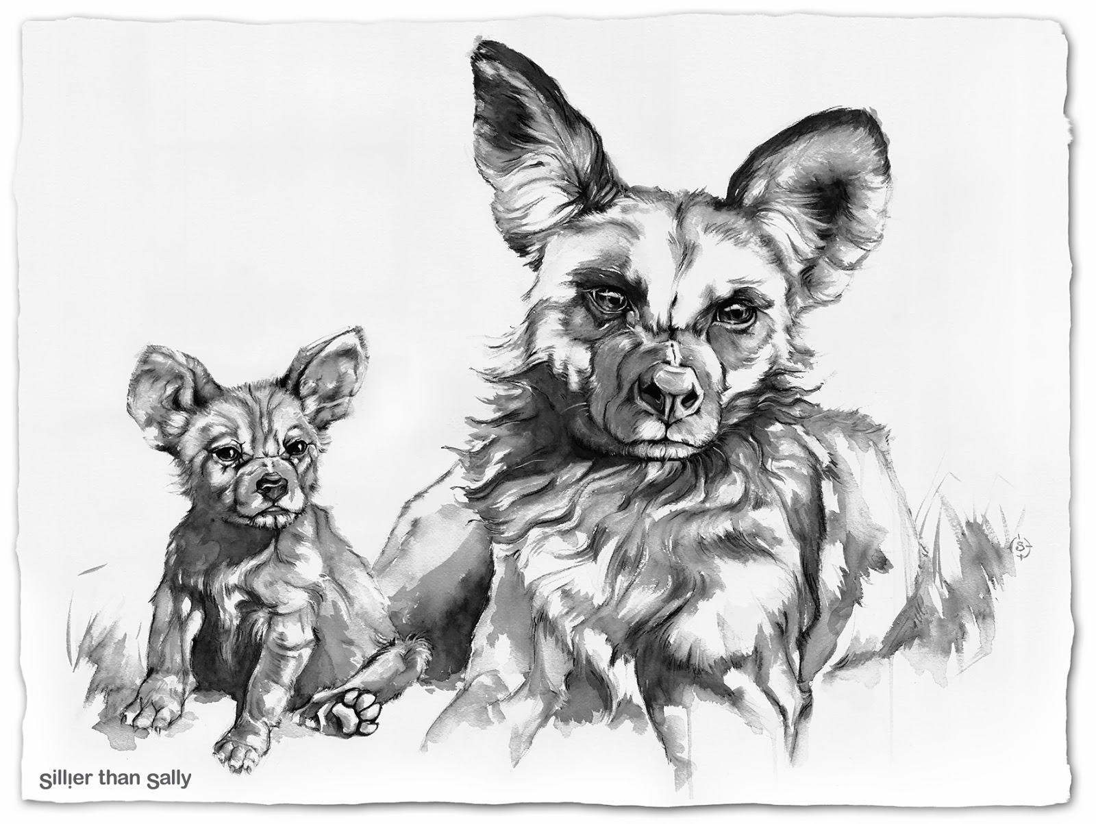 This is a photo of Amazing African Wild Dog Drawing