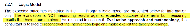 Criteria in the evaluation specifically state that the Logic Model will not be used for evaluation, and that a theory of change must be reconstructed during the evaluation