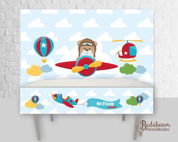 Urso, Aviador, Urso Aviador, arte digital, kit digital, festa infantil, painel infantil, painel aviador, painel urso aviador, arte personalizada
